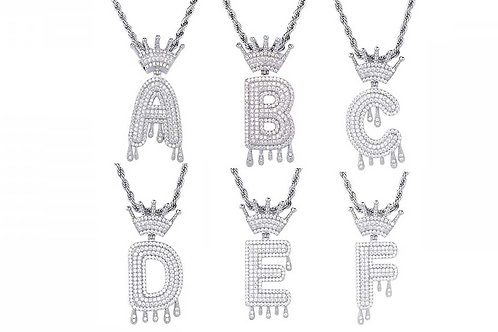 Iced Out Silver Letters Rope Chain