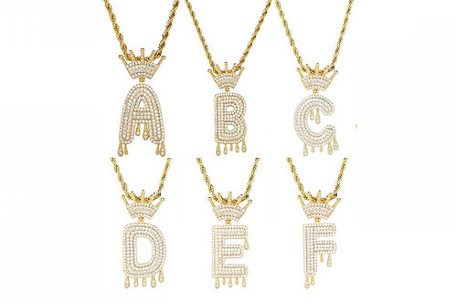 Iced Out Gold Letters Rope Chain