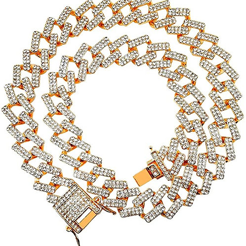 Men's Rose Gold Iced Out ZigZag Cuban Link Chain