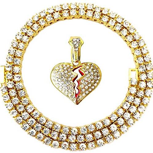 Iced Out Gold Broken Heart Pendant Tennis Chain