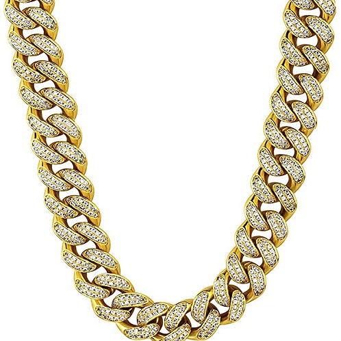 Men's Gold Iced Out Cuban Link Chain