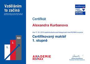 Certifikát CRM 1. stupně-kurbanova-alexa