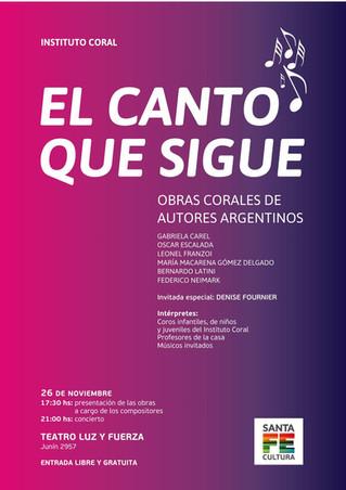 """EL CANTO QUE SIGUE. Estreno Mundial de """"Musica, Amor et Gaudium"""" -para coro femenino- y ot"""
