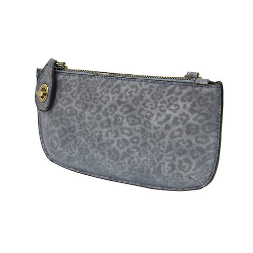 Chambray Leopard Crossbody Wristlet Clutch