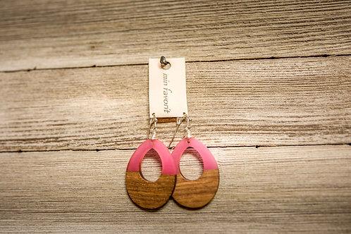 Pink/Wood Earring
