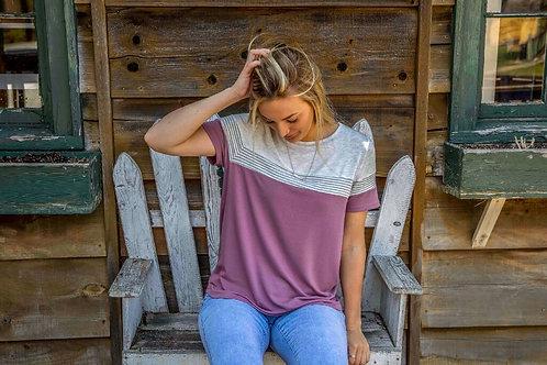 Striped Grey/Purple Tee