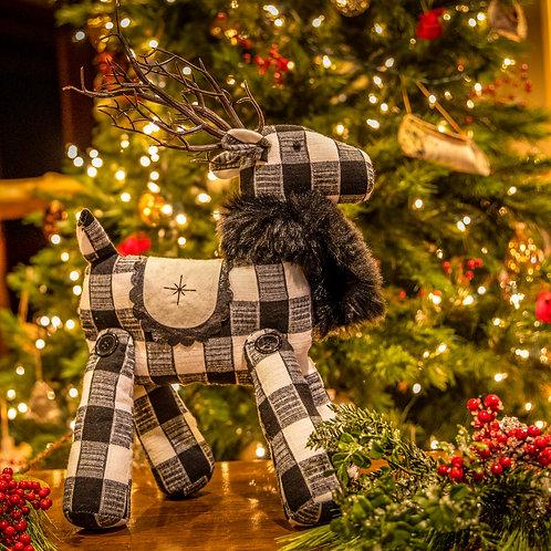Black/White Plaid Reindeer