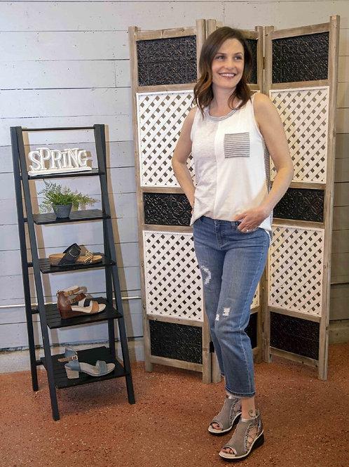 Heather Grey, Striped, Color Block Tank
