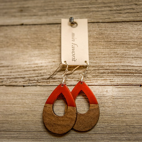 Red/Wood Earring
