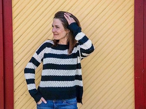 Distressed Stripe Oversized Sweater