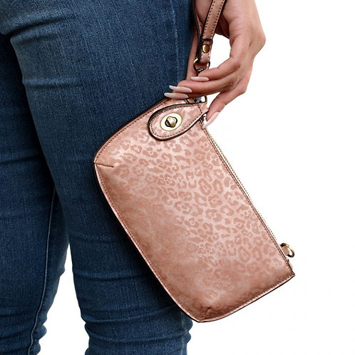 Pink Leopard Cross Body Wristlet Clutch