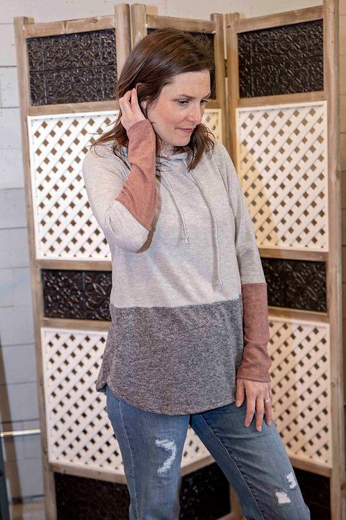 Heather Grey/Rust Knit Top