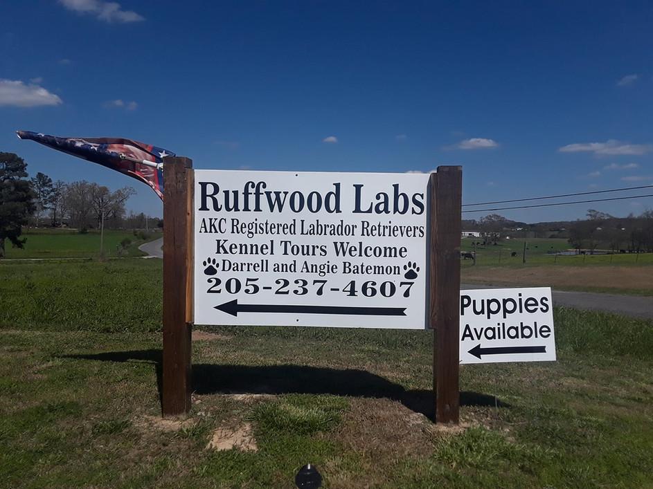 Ruffwood Labs sign