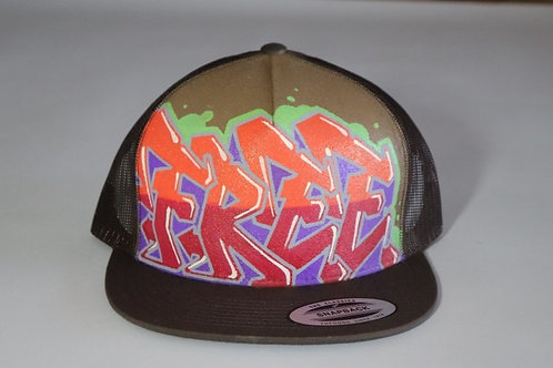 """Free"" Graffiti on Brown Trucker Hat"