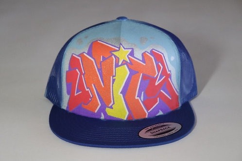 """Unity""Graffiti on a Royal Blue Trucker Hat"