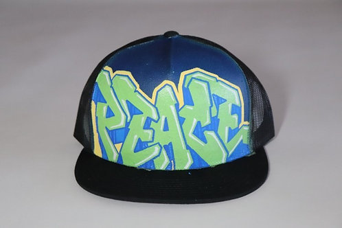 """Peace"" Graffiti on a Navy Trucker Hat"