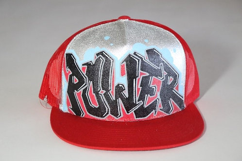 """Power"" Graffiti on a Red Trucker Hat"