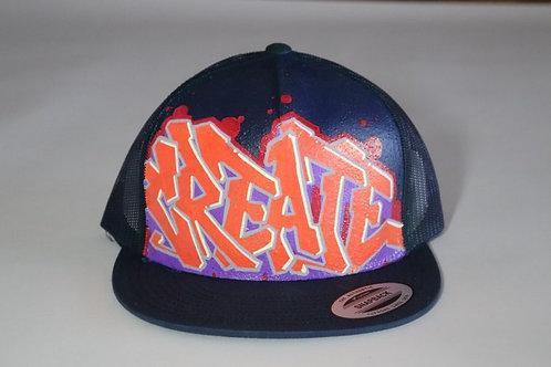 """Create""Graffiti on a Navy Trucker Hat"