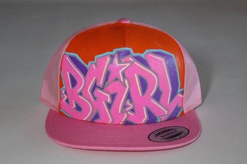 """""""BGirl"""" Graffiti on a Pink Trucker Hat."""