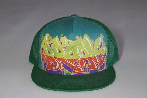 """""""Break"""" Graffiti on a Green Trucker Hat"""
