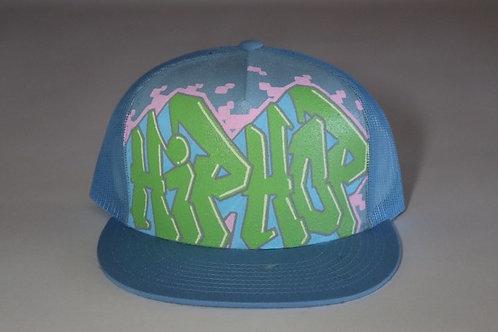 """Hip Hop"" Graffiti on a Baby Blue Trucker Hat"