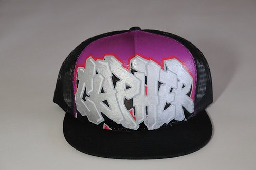 """Cypher"" Graffiti on a Black Trucker Hat"