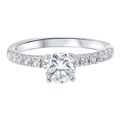 14K White Gold 1 ctw Complete Eng. Ring - 0.80 ct center