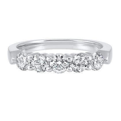 14K White Gold 1 ctw Diamond Wedding Band