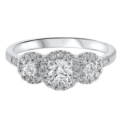 14K White Gold 3/4 ctw 3-Stone Diamond Ring