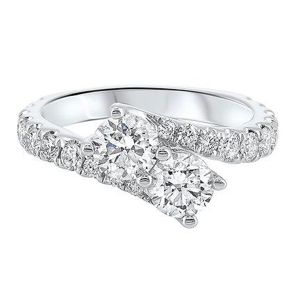 14K White Gold 1 ctw Two-Stone Diamond Ring
