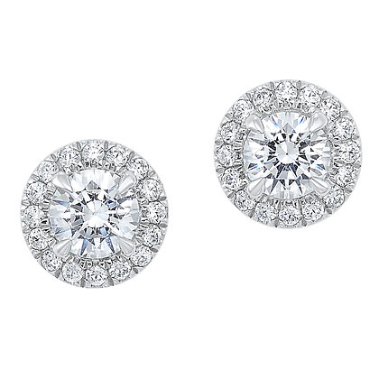 14K White Gold Halo Studs - 1 ctw