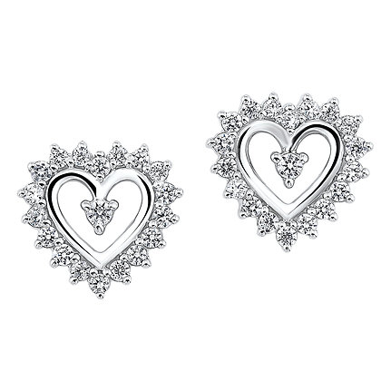 14K White Gold 1/2 ctw Diamond Heart Earrings