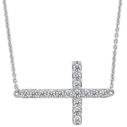 14K White Gold Diamond Cross Pendant - 1/2 ctw.