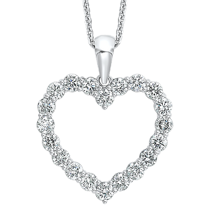 14K White Gold Diamond Heart Pendant - 1 ctw.