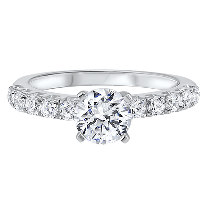 14K White Gold Semi-Mount Eng. Ring - 1/2 ctw