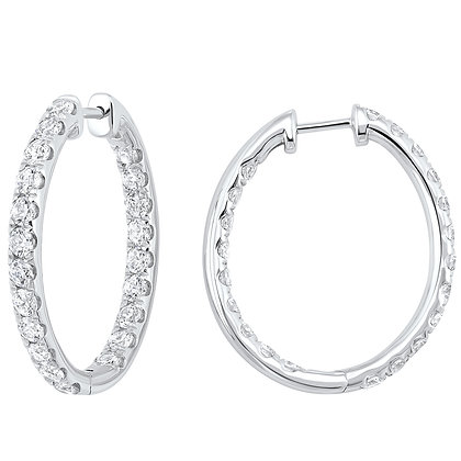 14K White Gold In & Out Hoop Earrings - 3 ctw
