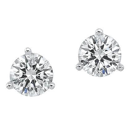 14K White Gold Diamond Martini Stud Earrings - 1/2 ctw