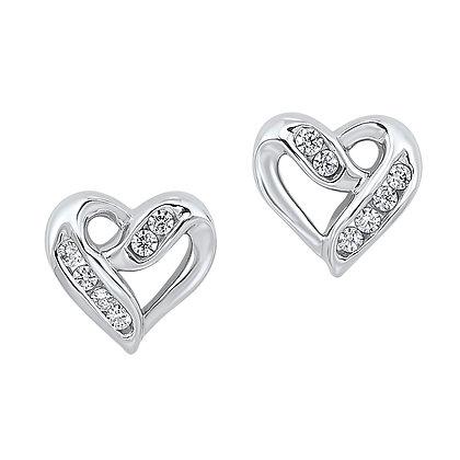 Sterling Silver 1/8 ctw Diamond Earrings