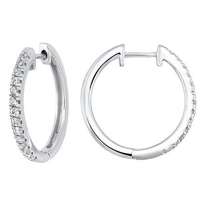 14K White Gold 1/2 ctw Diamond Hoop Earrings
