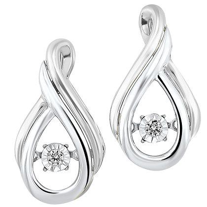 10K White Gold & Sterling Silver 1/20 ctw Diamond Earrings