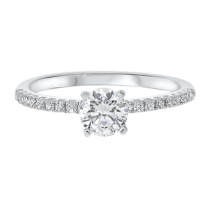 14K White Gold 3/4 ctw Complete Eng. Ring - 5/8 ct center