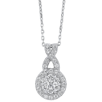 14K White Gold 1/2 ctw Diamond Pendant