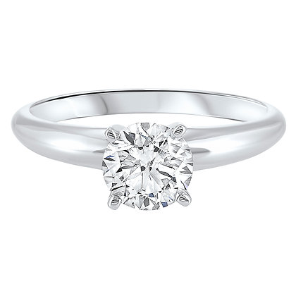 14K White Gold Diamond Solitaire Eng. Ring - 1.5 ct.