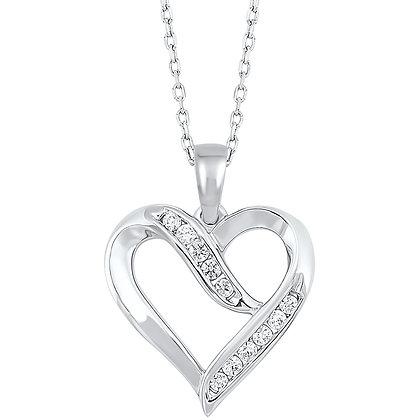 Sterling Silver 1/8 ctw Diamond Pendant