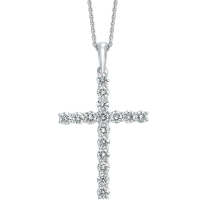 14K White Gold Diamond Cross Pendant - 1/4 ctw.