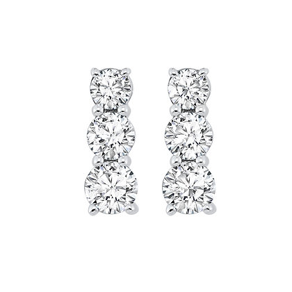 14K White Gold 1 1/2 ctw 3-Stone Diamond Earrings