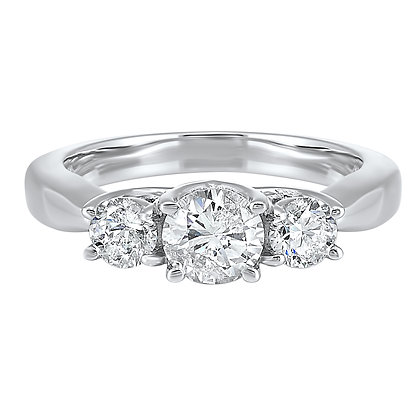 14K White Gold 1 ctw 3-Stone Diamond Ring