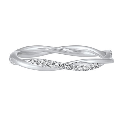 14K White Gold 1/5 ctw Diamond Wedding Band