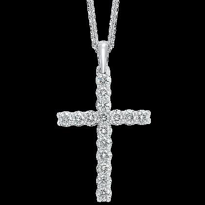 14K White Gold Diamond Cross Pendant - 1 ctw.