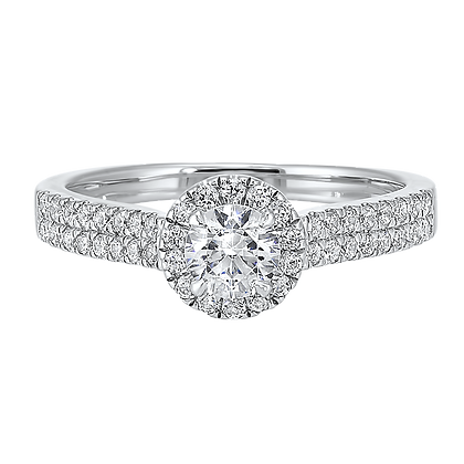 14K White Gold 3/4 ctw Complete Eng. Ring - 3/8 ct center